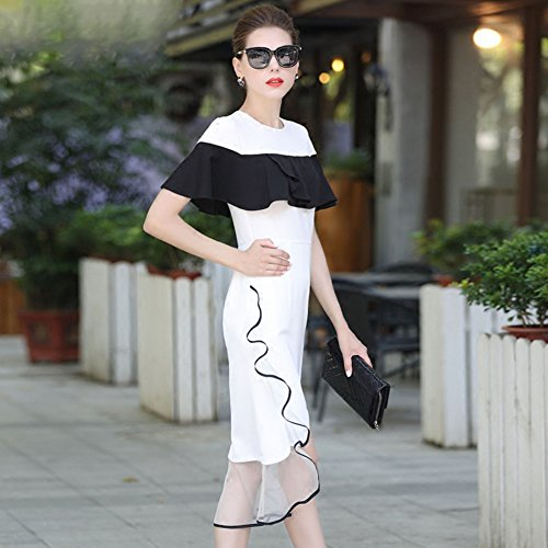 cotyledon Slim 2018 Dress Scoop Black Party of Neck Short White for and Suit Fit New Dresses Color Ruffle Block Sleeve Style rrZPTqd