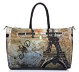 BIPE Women Paris Eiffel Tower and Lock Belt Printed Nylon Handbags