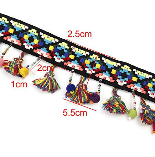 Yalulu 5 Yards Pom Tassel Trim Ball Beads Fringe Ribbon Handwork DIY Craft Sewing Accessory Lace For Home Party (Bead Fringe Trim)