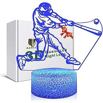 3D Illusion Playing Baseball Night Light Lamp 7 Color Change Touch White Crack Base AZALCO Birthday Gift