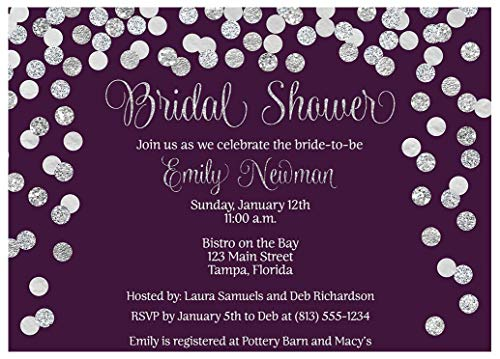 Brunch and Bubbly Bridal Shower Invitations Confetti Wedding Party Invites Rehearsal Dinner Anniversary Party Customize Cards Champagne Purple Silver Glitter (10 Count) ()