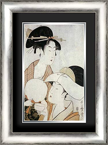 Bust Portrait of Two Women 17x24 Silver Contemporary Wood Framed and Double Matted (Black Over Silver) Art Print by Utamaro, Kitagawa