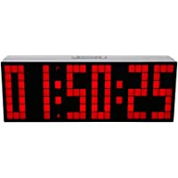 LambTown Réveil Numérique LED Grande Minuterie de Compte à Rebours avec Calendrier de Température - Rouge