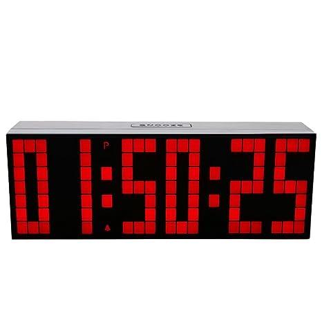 LambTown Jumbo Gran Reloj de Pared del LED Digital con el Calendario, Termómetro - Rojo