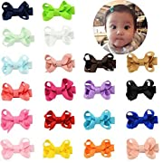 2 Inch Small Toddlers Hair Bows Clips Baby Barrettes For Infant Fine Hair Tie 20Pcs