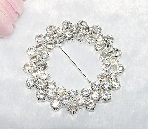 10 Pieces 2-1/2 inches 2 Rows Clear Rhinestone Round Buckle Invitation Ribbon Slider Wedding Supply Gift Wrap Hairbow Center