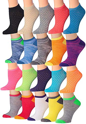 Tipi Toe Women's 20 Pairs Colorful Patterned Low Cut/No Show Socks (Space Dye)