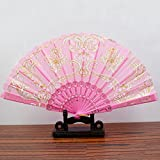 Pink Spanish Style Dance Wedding Party Lace Silk Folding Hand Held Flower Fan