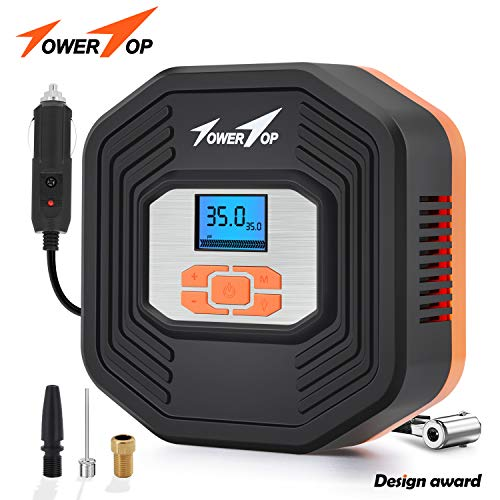 Portable Air Compressor Pump/12V DC Digital Tire Inflator, Automatic Shut Off at Preset Pressure, 3 Way Safety LED Lights Ideal for Car, Bicycle, Motorcycle, Balls