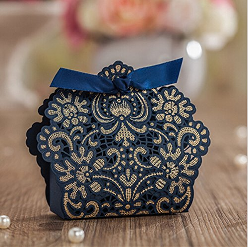 Worldoor 50ps Newest Dark Blue Romantic Wedding Favors Decor DIY Candy Cookie Gift Boxes Wedding Party Candy Box with Bronzing ()