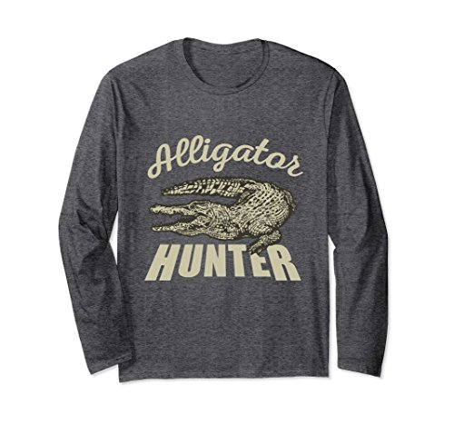 Alligator Long Sleeve - Unisex Alligator Hunter Long Sleeve Shirt XL Dark Heather