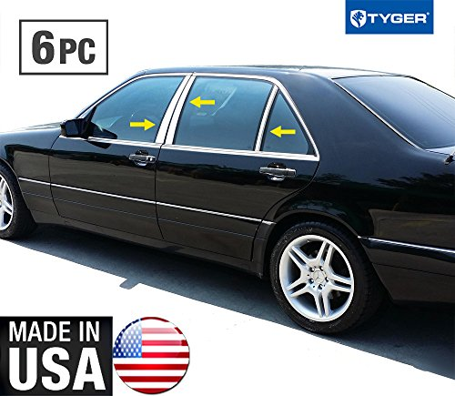 Made in USA! Works with 1991-1999 Mercedes-Benz S Class 6 PC Stainless Steel Chrome Pillar Post Trim ()