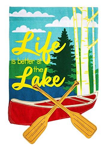 Evergreen Life at the Lake Burlap Garden Flag, 12.5 x 18 - Pembroke At Lakes