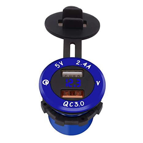 perfk USB Cargador Dual Salidas con Medidor de Voltios para Coche Vehículo - Azul + luz