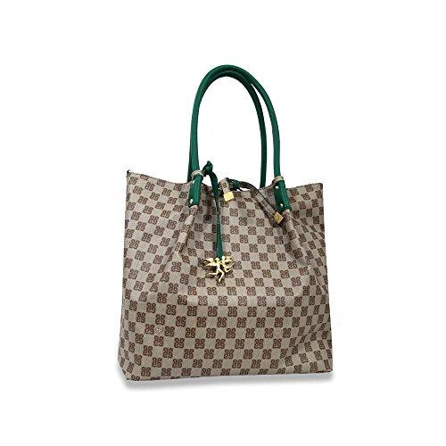 Piero Monogramma E Verde Pour Cabas Guidi 33x33x12 Vert Beige Femme 4nqw4PTrxR