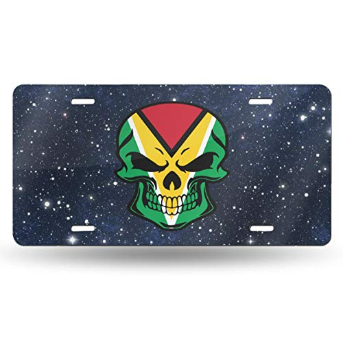CZD99 Guyana Flag Skull Car License Plate Retro License Plates Decorative Front Plate 6