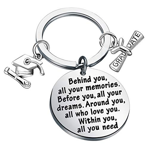 FUSTMW Graduation Gift Take Pride in How Far You Have Come Keychain Inspirational Letters Graduates Gifts for Him/Her (Behind You Keychain)