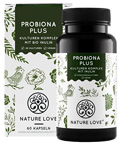 Probiona PLUS - 120 Mrd KBE je Tagesdosis: bis zu 12-fach höher dosiert als andere Kulturen Komplexe - 20 Bakterienstämme + Bio Inulin - Magensaftresistente Kapseln - Vegan, Made in Germany