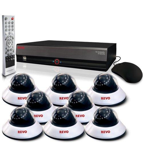 Revo R164D8E-4T (Pack- 8) 600TVL Dome CCTV Cameras -Revo Security Video Camera Surveillance DVR System - 16 Channel 4TB DVR -  REVO America