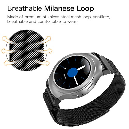 Gear S2 Watch Band [Large], Fintie [Magnet Lock] Milanese Loop Adjustable Stainless Steel Replacement Strap Bands for Samsung Gear S2 SM-R720 / SM-R730 Smart Watch - Black by Fintie (Image #3)