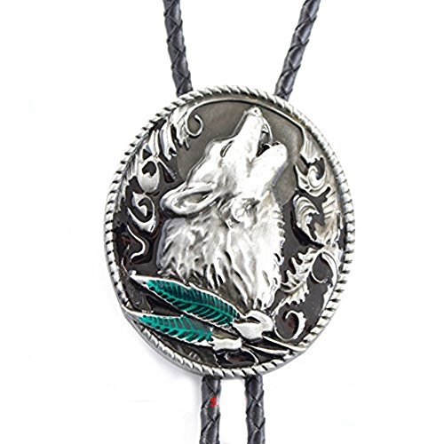 CXYP Howling Wolf Bolo Tie Antique Silver Bolo Tie Western Cowboy Tie (green)