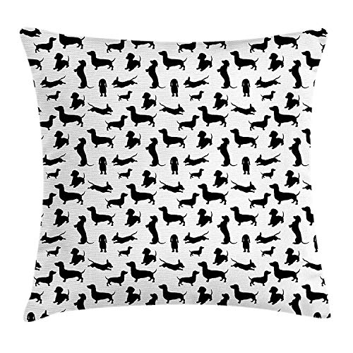 ZOZGETU Pillow Cases,Dog Lover Throw Pillow Cushion Cover, Monochrome Dachshunds in Numerous s Active Life Pet Canine Abstract Image, Decorative 18x18 inchs Pillowcase with Zipper, 18 X 18 inch ()