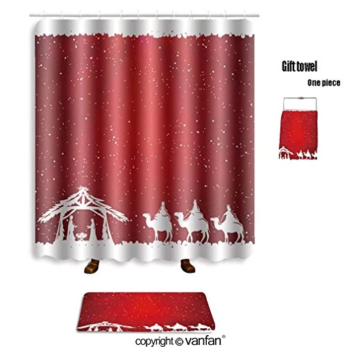50OFF Vanfan Bath Sets With Polyester Rugs And Shower Curtain Christian Christmas Scene On