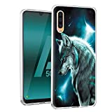 Yoedge Case for Samsung Galaxy A50 / Galaxy A50S / A30S, Clear Silicone with Painting Design [Ultra Slim] Girls Women Shockproof Gel TPU Back Cover Bumper Skin forGalaxy A50 6.4' (Wolf)