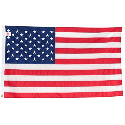 American Flag 3x5 | 100% Made in the USA | Heavy Duty | Embroidered Stars & Sewn Stripes | 210D Oxford Nylon | Quadruple Stitched Fly End | Brass Grommets for Easy Display | U.S. Flag | P/N 35EMBUS
