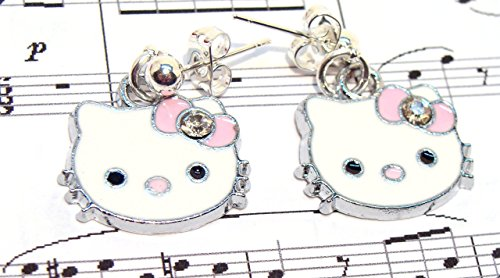 Kitty Face Earrings with Pink Bows and Rhinestones Valentine's Day, Girls gift, pretty in pink (Kitty Enameled)