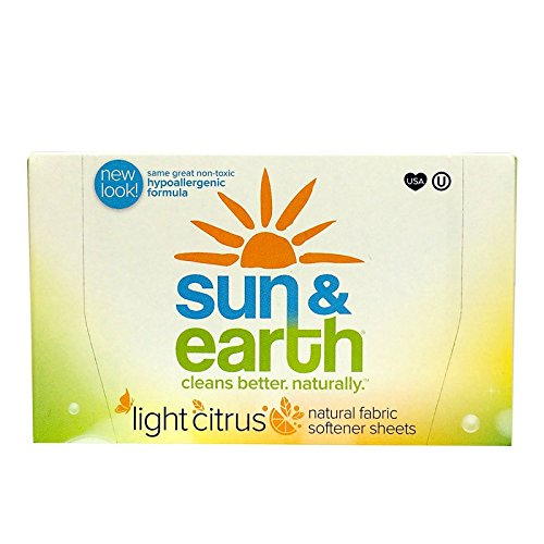 Sun & Earth Natural Hypoallergenic Fabric Softener Sheets, Fresh Citrus,  80 Count (Pack of 6)