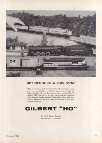 Gilbert HO Hot Picture of Cool Scene toy train ad 1956