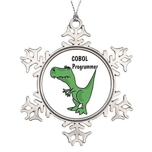 EvelynDavid Snowflake Ornament Ideas for Decorating Christmas Trees AZ- COBOL Programmer Dinosaur Office Chrismas Snowflake Ornaments ()