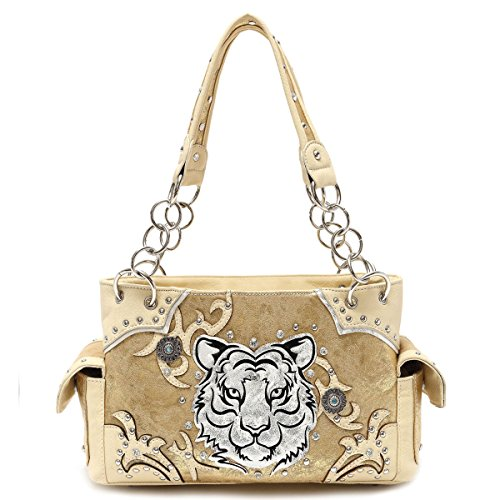 Cowgirl Trendy White Tiger Face Synthetic Leather Purse w. Conceal Carry Pocket, Growling Gold