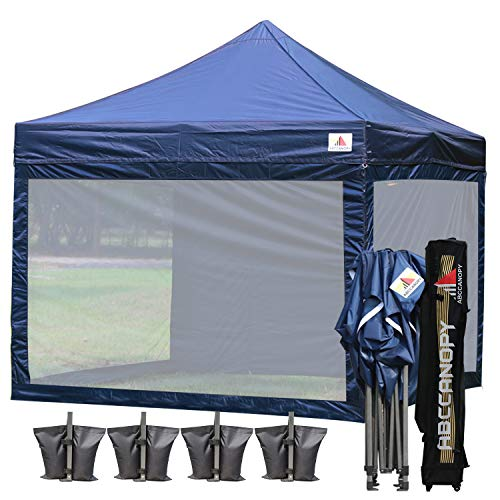 ABCCANOPY (18+ Colors 10x10 Easy Pop up Commmercial Canopy Tent with Matching White Mesh Walls Bonus Rolly Carry Bag and 4X Weight Bag (Navy Blue)