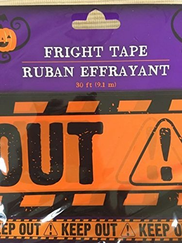 30 ft Yellow Keep Out Fright Tape Halloween Decoration Haunted (Pack of 2) -
