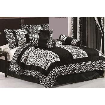 Amazon Com Beautiful 7 Pc Black And White Zebra Print
