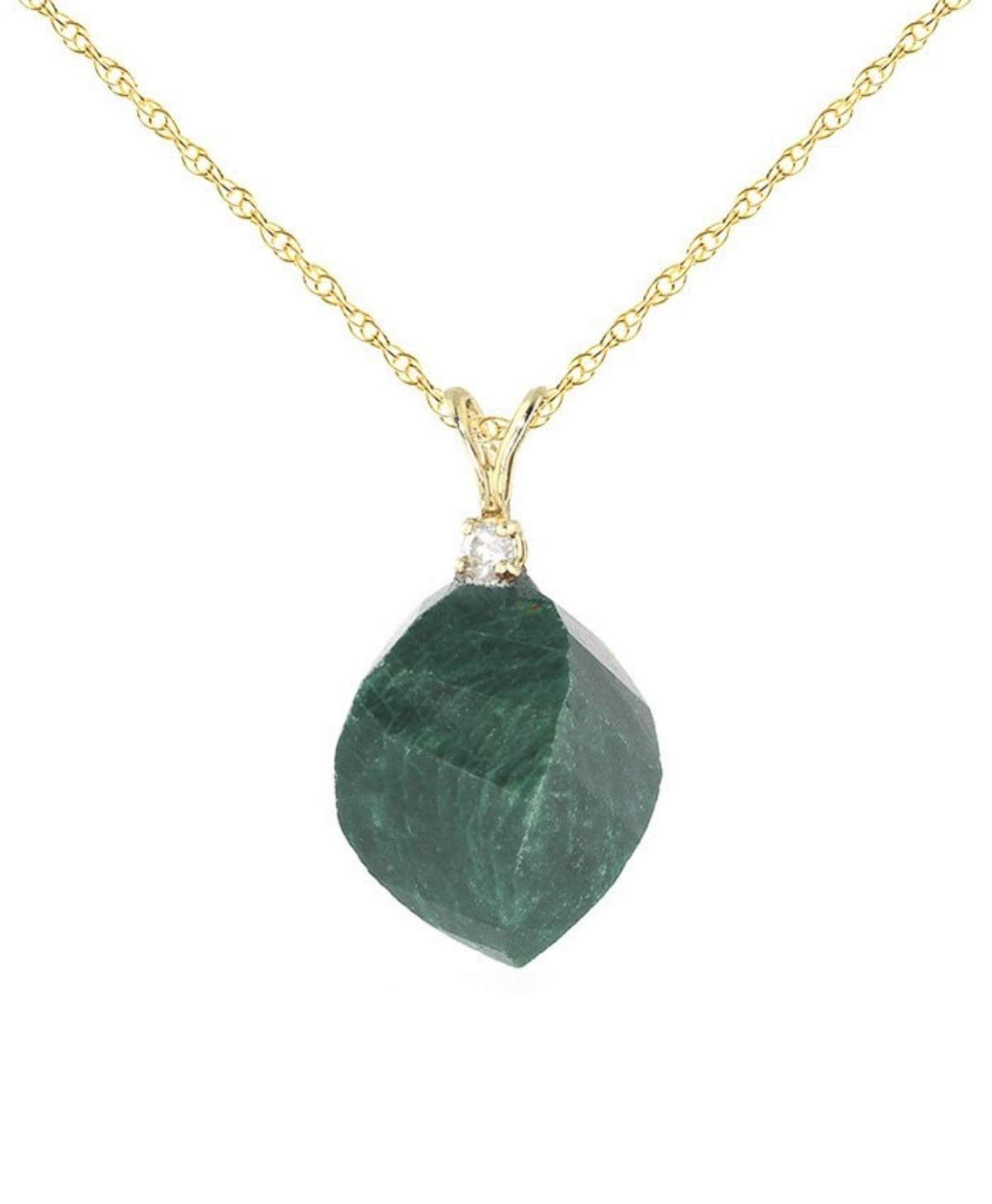 14K 20'' Solid Yellow Gold Necklace with Natural Diamond and Twisted Briolette Emerald
