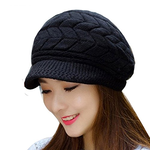 Max Costume Tutorial (YCHY Women girl's Winter Rabbit Hair Warm Knit Hat Thicken Ski Caps with Visor (black))