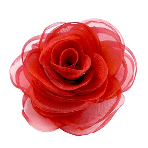 Merdia Womens Lovely Flower Hair Clip Rose Brooches for Wedding Red