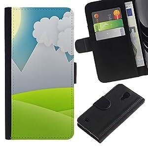 Regalo CHOICE/SmartPhone Teléfono móvil Funda de piel tipo cartera Carcasa para Samsung Galaxy S4IV I9500//Landscape View Computer Drawing Sun Sky//