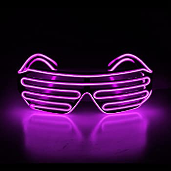 e74fe95293 Aquat Light Up Shutter LED Neon Rave Glasses El Wire DJ Flashing Sunglasses  Glow Costumes Voice Activated For 80s