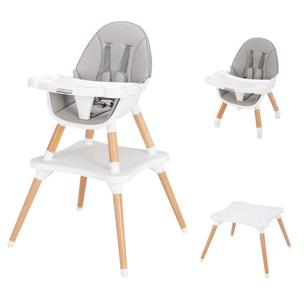 JOYMOR 5-in-1 Baby High Chair for Infants to Toddler, 4-Position Adjustable for Baby/Infants/Toddlers,Wooden Highchair Seats for Eating,Kids Table and Chair Set