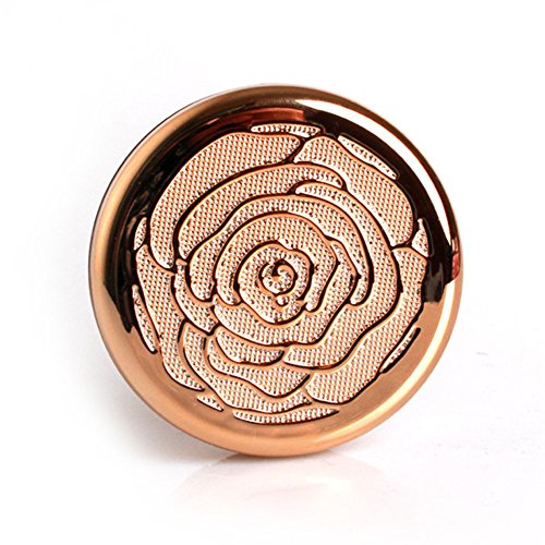 Jaywayne Empty Luxurious Golden Peony Shape Portable Make-up Powder Container Air Cushion Puff Case Holder with Powder Puff and Mirror Refillable Make Up Foundation BB Cream Box (Shape Peony)