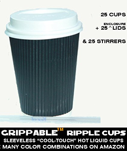 Grippable Hot Liquid Cups Ripple Insulated Hot-Cold Drink Cups, Lids Stirrers Disposable, 12 oz., 25 Piece