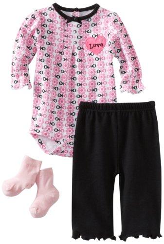 Satin Bebe (Bon Bebe Baby-girls Newborn 3 Piece Pant Set With Heart Shaped Satin Applique, Pink/White/Black, 6-9 Months)
