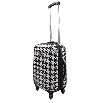554014004de3 Amazon.com : DH White Black Houndstooth Theme Luggage Hardtop ...