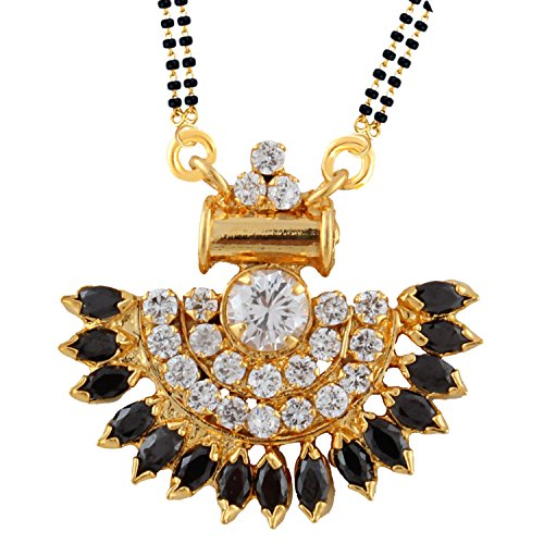 Efulgenz Indian Bollywood Traditional Gold Plated Ruby Emerald/Color CZ Stone Mangalsutra Pendant Necklace Jewelry with Chain for Women by Efulgenz (Image #1)