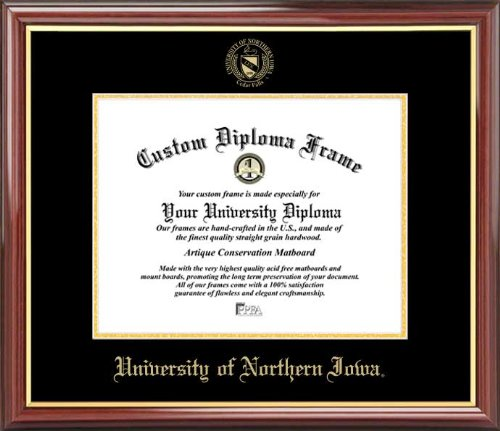 Laminated Visuals University of Northern Iowa Panthers - Embossed Seal - Mahogany Gold Trim - Diploma Frame