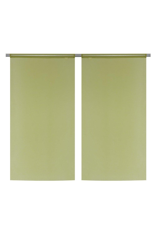Paire de Voilage Vitrage 60x120 cm en Effet Lin Vert Vert RideauDiscount